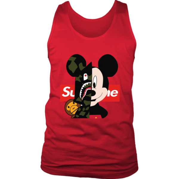 Micke Mouse Supreme Bape Logo Mens Tank Top