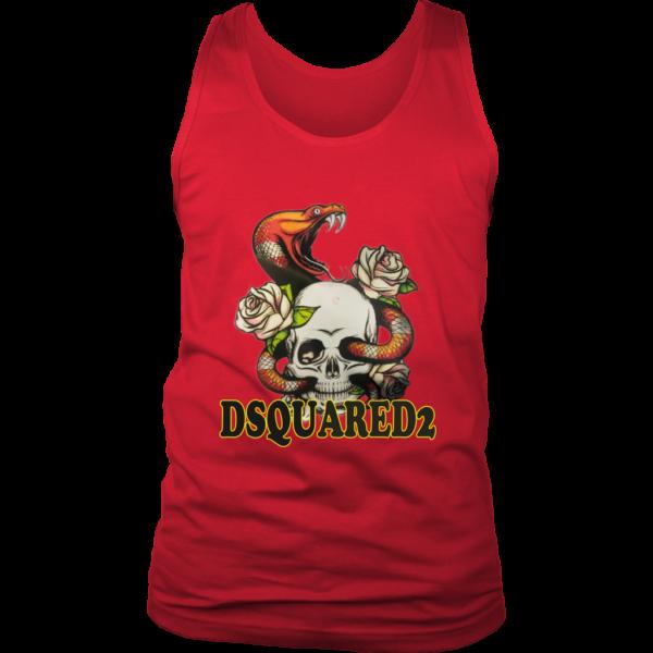Dsquared2 Snake Skull And Rose Mens Tank Top