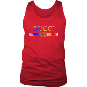 Gucci Rainbow LGBT Style Logo Limited Edition Mens Tank Top