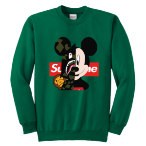 Micke Mouse Supreme Bape Logo Youth Crewneck Sweatshirt