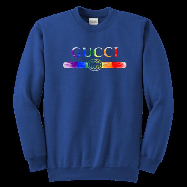 Gucci Rainbow LGBT Style Logo Limited Edition Youth Crewneck Sweatshirt