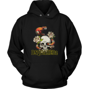 Dsquared2 Snake Skull And Rose Unisex Hoodie