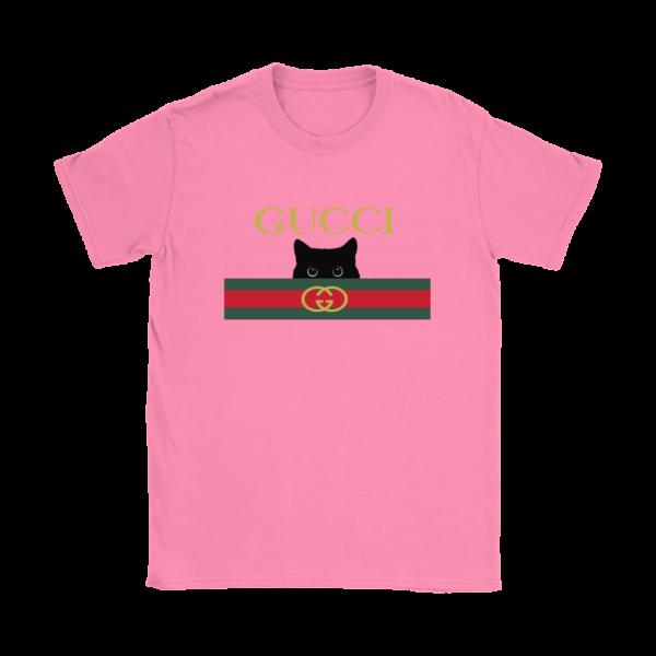 Gucci Black Cat Secret Logo Womens T-Shirt