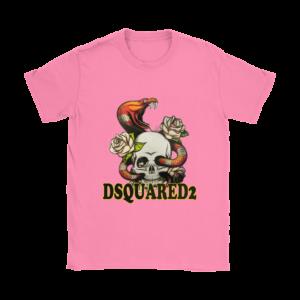 Dsquared2 Snake Skull And Rose Womens T-Shirt