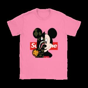 Micke Mouse Supreme Bape Logo Womens T-Shirt