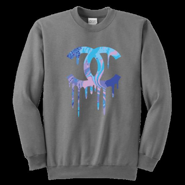 Chanel Logo Dripping Jade Green Youth Crewneck Sweatshirt