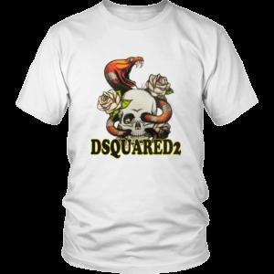 Dsquared2 Snake Skull And Rose Unisex Shirt