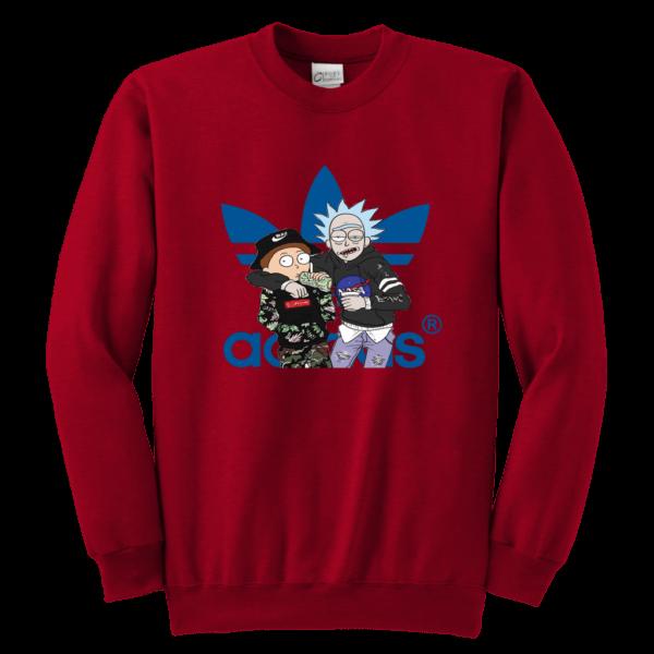 Rick And Morty Adidas Fashion Youth Crewneck Sweatshirt