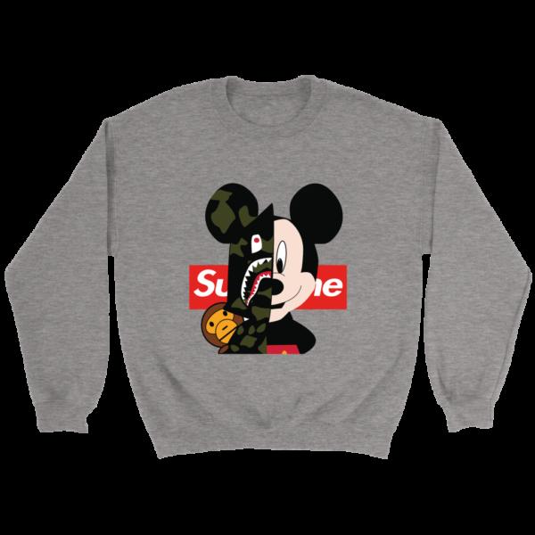 Micke Mouse Supreme Bape Logo Crewneck Sweatshirt