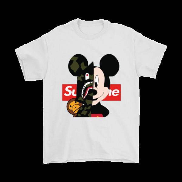Micke Mouse Supreme Bape Logo Mens T-Shirt