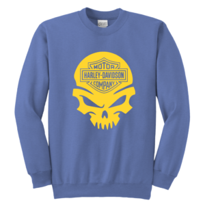 Harley Davidson Gold Skull Youth Crewneck Sweatshirt