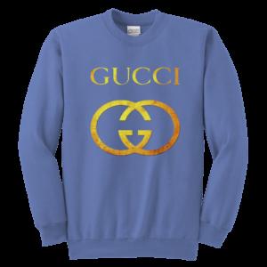 Gucci Gold Logo Youth Crewneck Sweatshirt