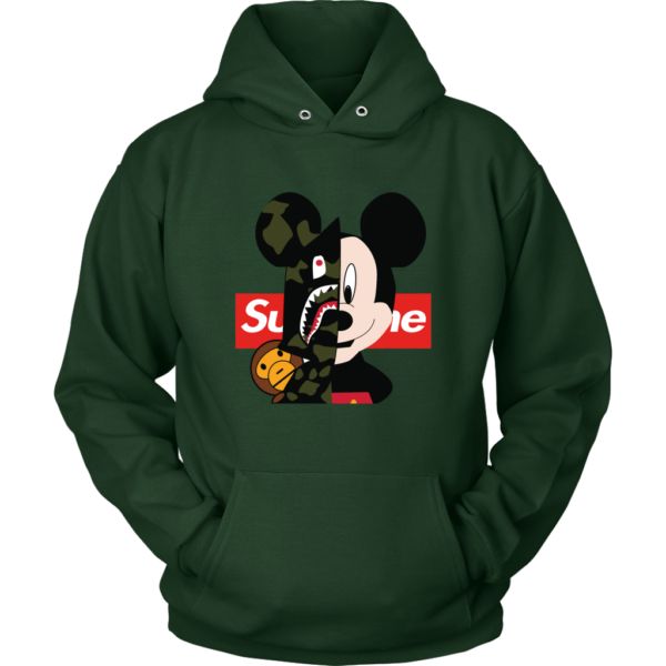 Micke Mouse Supreme Bape Logo Unisex Hoodie