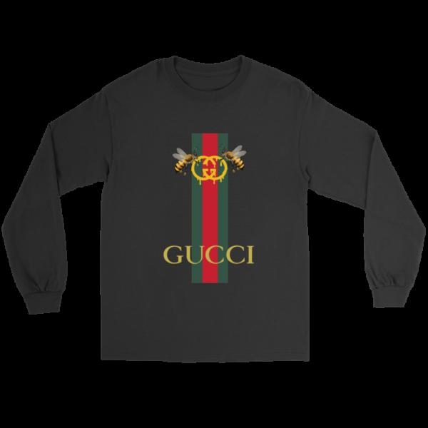 Gucci Bee Logo Drip Long Sleeve Tee