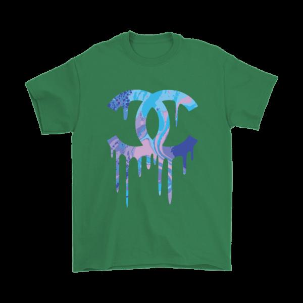 Chanel Logo Dripping Jade Green Mens T-Shirt
