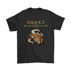 Gucci Logo Edition Tiger Vs Snake Mens T-Shirt