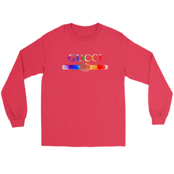 Gucci Rainbow LGBT Style Logo Limited Edition Long Sleeve Tee