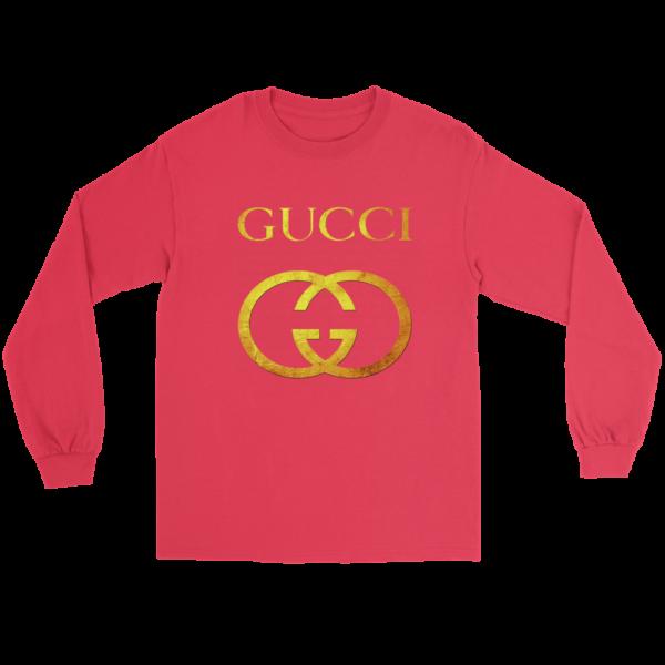 Gucci Gold Logo Long Sleeve Tee