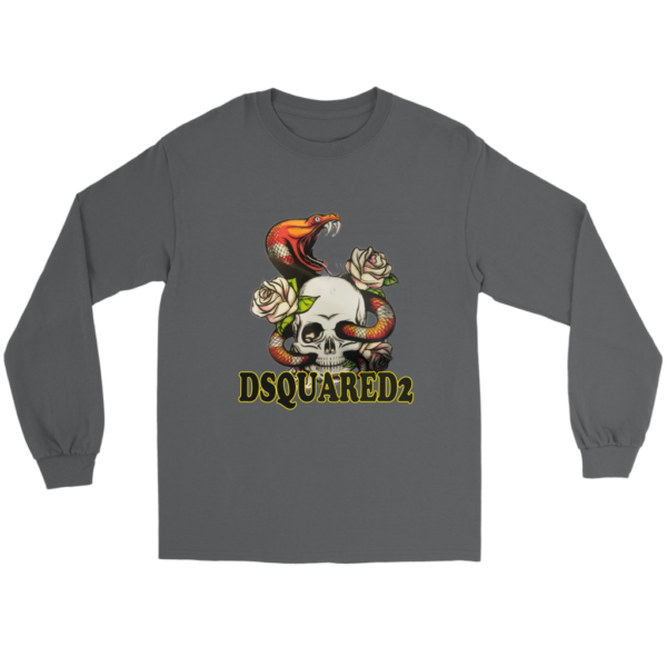 Dsquared2 Snake Skull And Rose Long Sleeve Tee