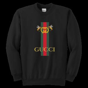Gucci Bee Logo Drip Youth Crewneck Sweatshirt
