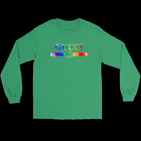 Gucci Rainbow LGBT Style Logo Limited Edition Long Sleeve Tee