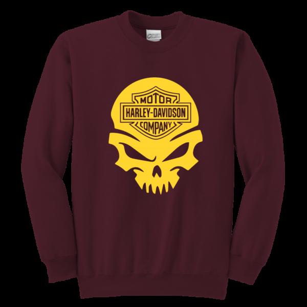 Harley Davidson Gold Skull Youth Crewneck Sweatshirt