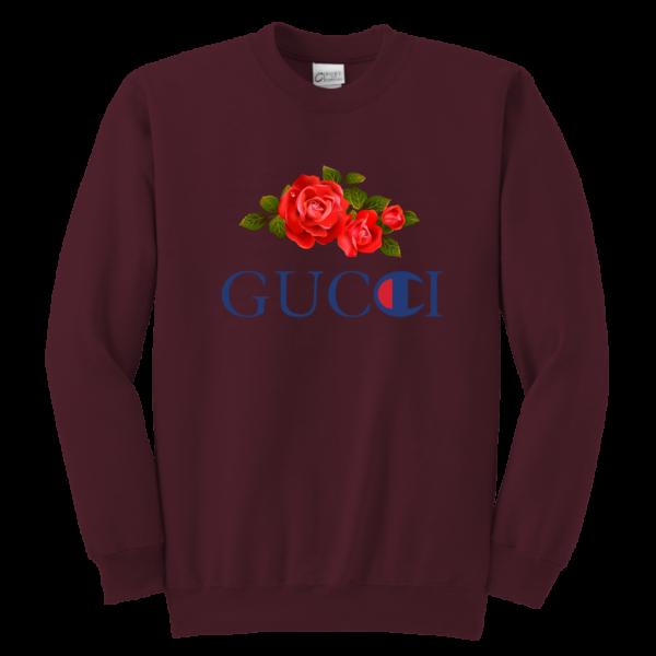 Gucci Champion Rose Youth Crewneck Sweatshirt