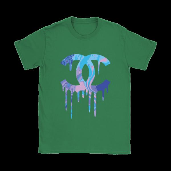 Chanel Logo Dripping Jade Green Womens T-Shirt