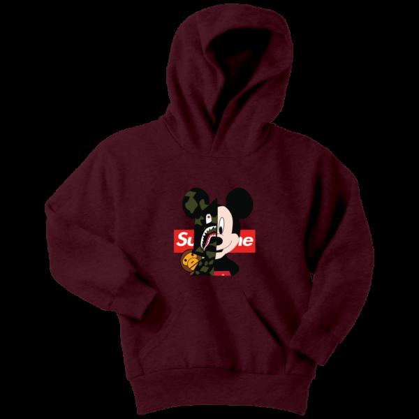 Micke Mouse Supreme Bape Logo Youth Hoodie