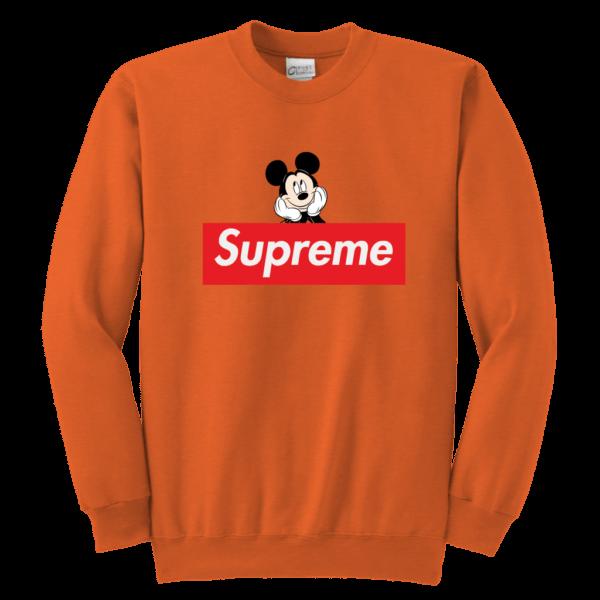 Supreme Mickey Mouse Logo Premium Youth Crewneck Sweatshirt
