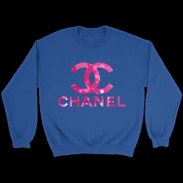Coco Chanel Logo Pink Glitter Crewneck Sweatshirt