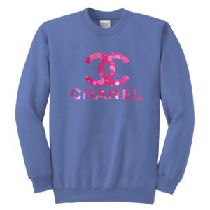 Coco Chanel Logo Pink Glitter Youth Crewneck Sweatshirt