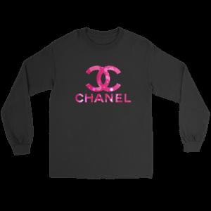 Coco Chanel Logo Pink Glitter Long Sleeve Tee