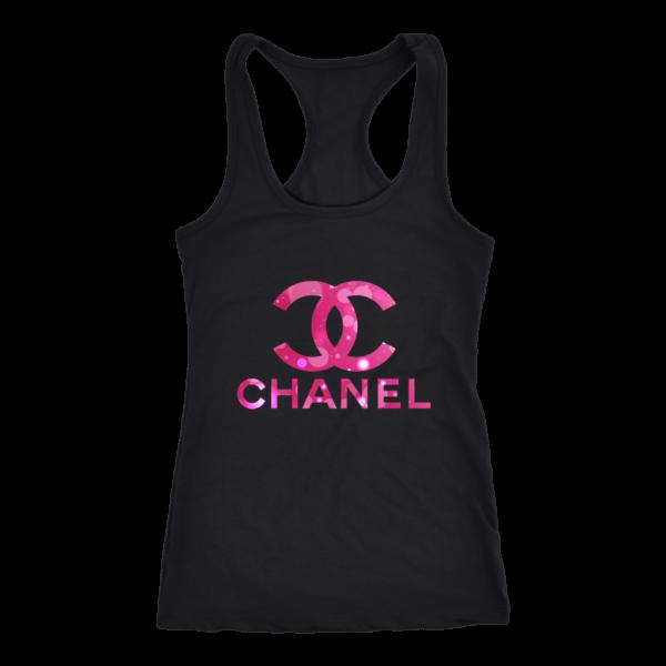 Coco Chanel Logo Pink Glitter Women's Tank Top