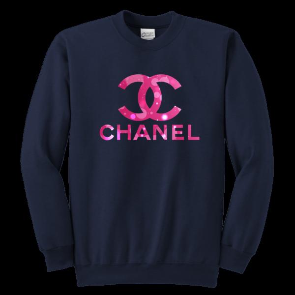 Coco Chanel Logo Pink Glitter Youth Crewneck Sweatshirt